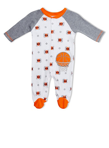 Baby Boy Printed Footie with Embroidered Basketball,WHITE,large