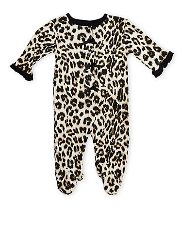 Baby Girl Printed Footie with Bows and Ruffle Trim,BLACK,large