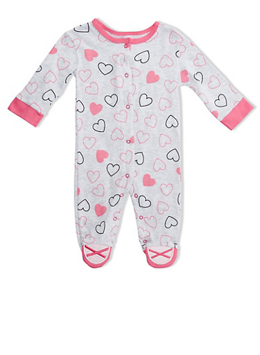 Baby Girl Heart-Print Footie with Ballet Shoes Detail,GREY,large