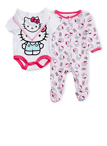 Baby Girl Footed Sleeper, Bodysuit and Bib with Hello Kitty Graphics,PINK,large