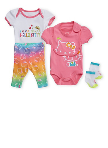Baby Girl Hello Kitty Bodysuit Two-Pack with Bib, Leggings and Socks Set,PINK,large