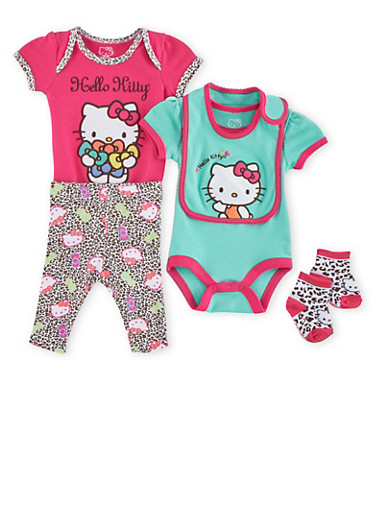 Baby Girl Hello Kitty Set of 2 Bodysuits with Leggings Bib and Socks,FUCHSIA,large