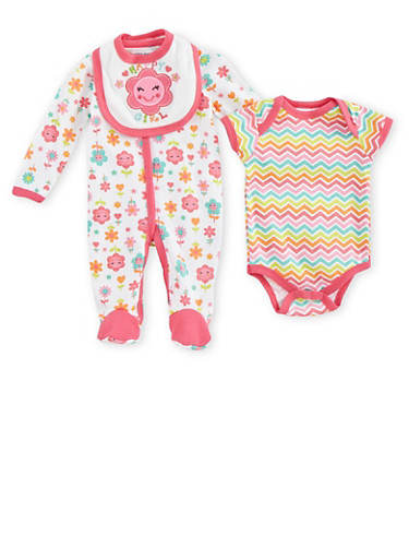 Baby Girl Bodysuit Two-Pack with Happy Girl Bib Set,FUCHSIA,large