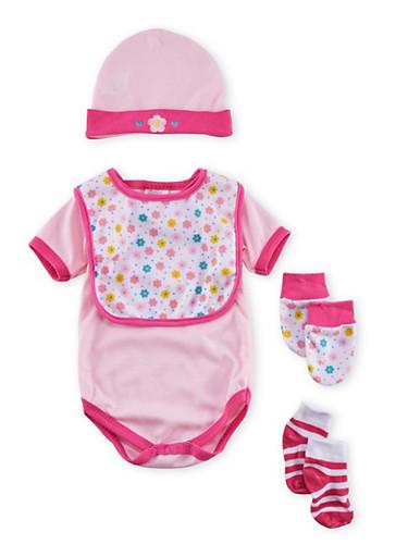 Baby Girl Five-Piece Set,PINK,large