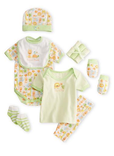 Baby Girl 10-Piece Gift Set,GREEN,large