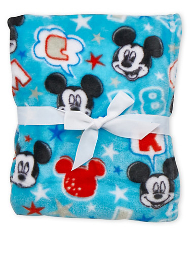 Plush Blanket in Mickey Mouse Print,BLUE,large
