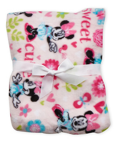 Plush Blanket in Minnie Mouse Print,PINK,large