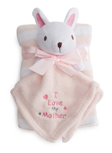 Baby Blanket Set with Stuffed Animal,PINK,large