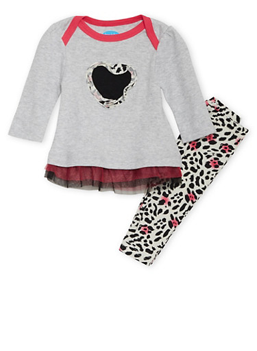 Baby Girl Chiffon Hem Shirt and Leggings with Heart Leopard Print,BLACK,large