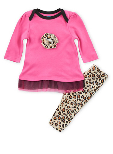 Baby Girl Tulle Accented Top with Printed Leggings Set,FUCHSIA,large