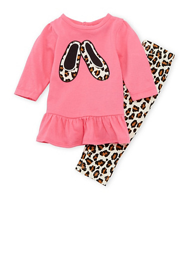 Baby Girl Graphic Top with Printed Leggings Set,FUCHSIA,large