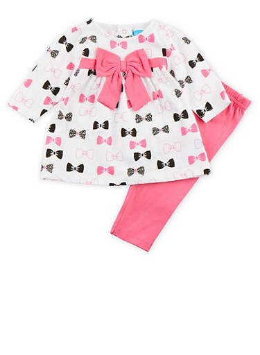 Baby Girl Bow Print Dress and Leggings Set,FUCHSIA,large
