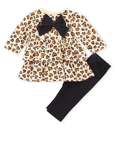 Baby Girl Printed Ruffle Top with Knit Leggings Set,LEOPARD PRINT,large