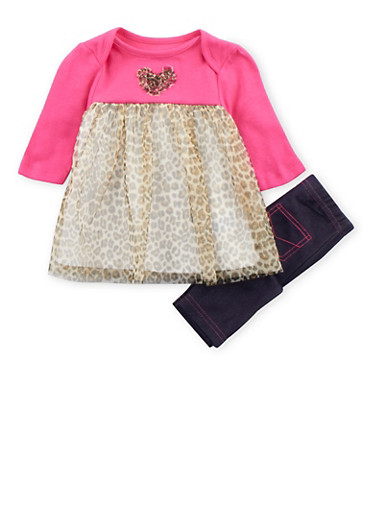 Baby Girl Dress and Jeggings Set,LEOPARD PRINT,large