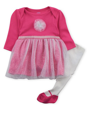 Baby Girl Tulle Trim Dress with Leggings Set,FUCHSIA,large