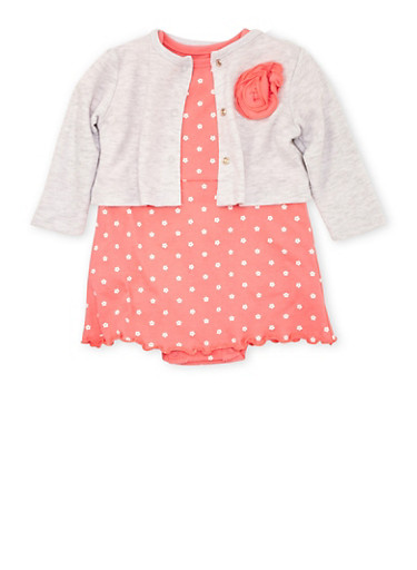 Baby Girl Skirted Bodysuit and Cardigan Set in Floral Print,CORAL,large