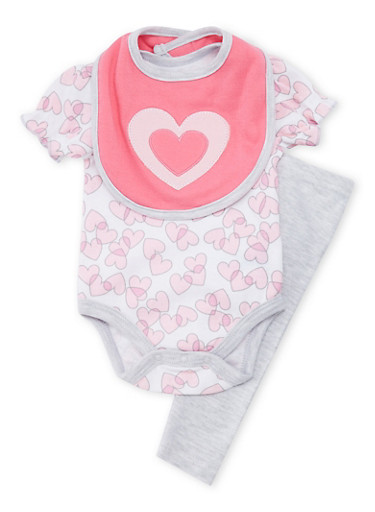 Baby Girl Heart Graphic Bodysuit with Leggings and Bib Set,GREY,large