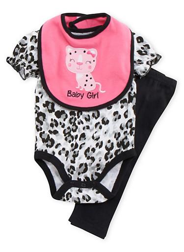 Baby Girl Printed Bodysuit and Leggings with Bib Set,BLACK,large