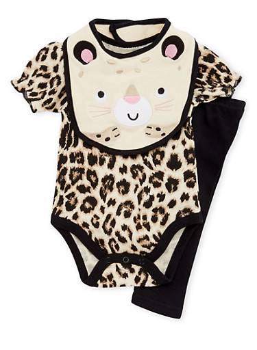 Baby Girl Bodysuit with Leggings and Bib Set,BLACK,large