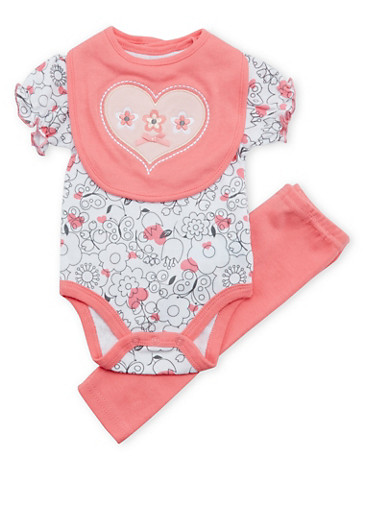 Baby Girl Floral Print Bodysuit with Pants and Bib Set,CORAL,large