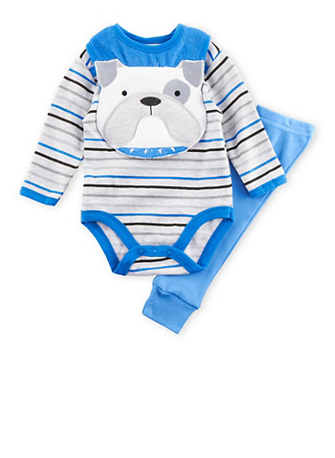 Baby Boy Striped Bodysuit with Pants and Dog Face Bib Set,BLUE,large