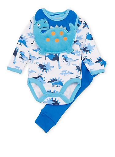 Baby Boy Dinosaur Print Bodysuit with Pants and Bib Set,BLUE,large