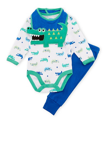 Baby Boy Dino Print Bodysuit with Pants and Bib Set,ROYAL,large