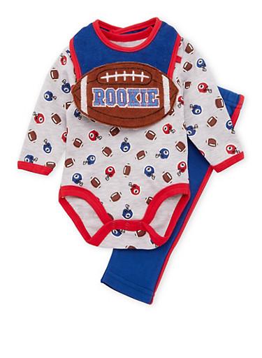 Baby Boy Football Print Bodysuit with Pants and Bib Set,GREY,large