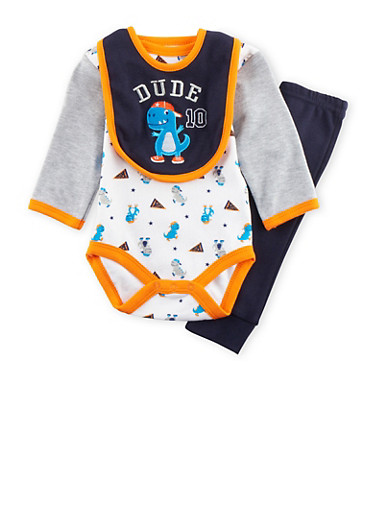 Baby Boy 3-Piece Set in Dinosaur Print,NAVY,large