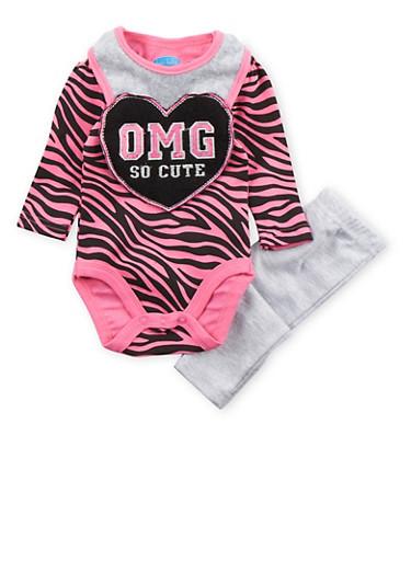 Baby Girl Bodysuit with Leggings and Bib Set,FUCHSIA,large