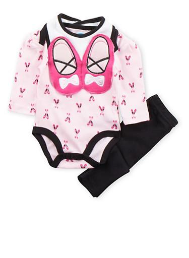 Baby Girl Bodysuit with Leggings and Bib Set,BLACK,large