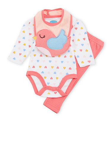 Baby Girl 3-Piece Set in Heart Print and Duck Embroidery,FUCHSIA,large
