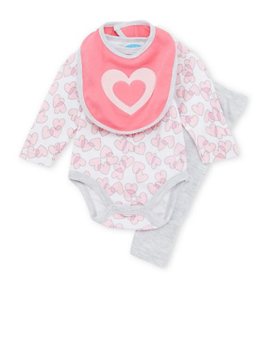 Baby Girl 3-Piece Set in Heart Print,PINK,large