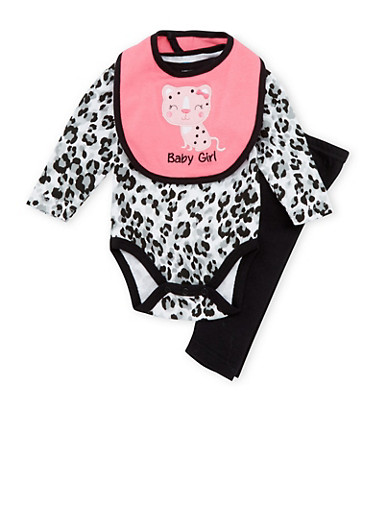 Baby Girl Printed 3-Piece Set with Embroidery,BLACK,large