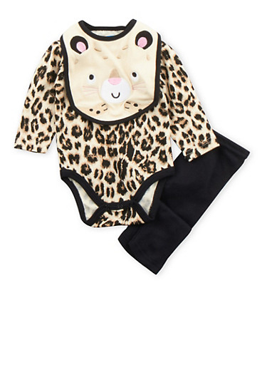 Baby Girl 3-Piece Set in Leopard Print,BLACK,large