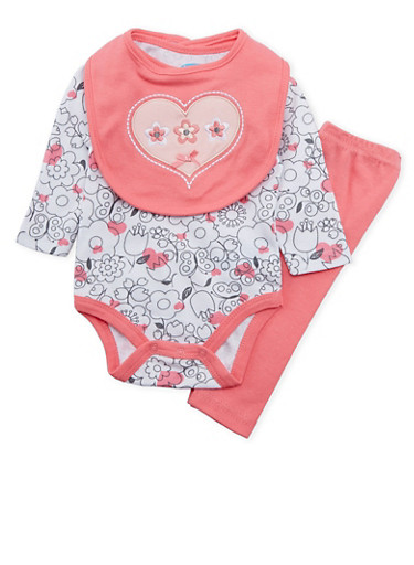Baby Girl Three Piece Set with Flower Heart Print,PINK,large