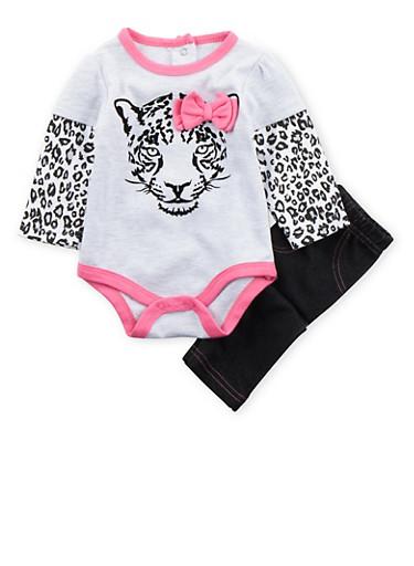 Baby Girl Printed Bodysuit and Leggings Set,BLACK,large