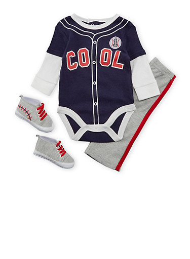 Baby Boy Baseball Graphic Bodysuit with Pants and Soft Sole Shoes Set,NAVY,large