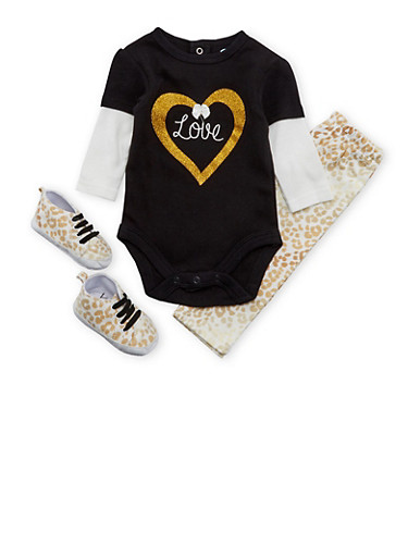 Baby Girl Bodysuit and Leggings with Sneakers Set,BLACK,large