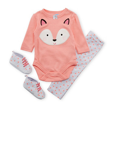 Baby Girl Fox Print Bodysuit with Heart Print Sneakers and Leggings,CORAL,large