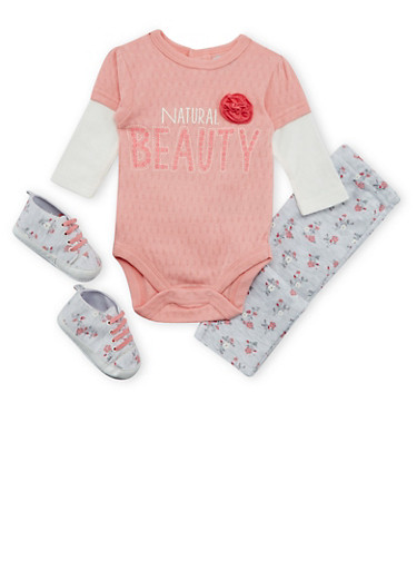 Baby Girl Natural Beauty Bodysuit with Leggings and Soft Sole Shoes Set,CORAL,large