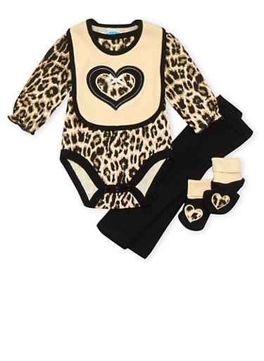 Baby Girl Four Piece Layette Set with Heart Leopard Print,BLACK,large