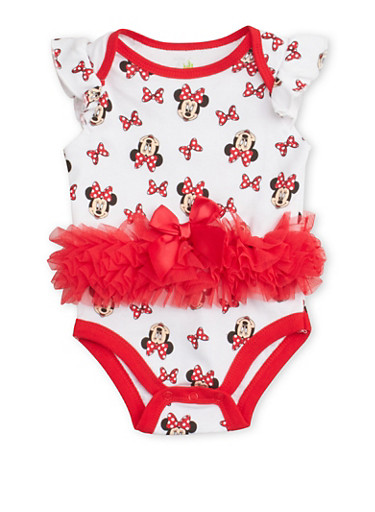 Baby Girl Bodysuit with Minnie Mouse Graphic and Ruffled Mesh Trim with Bow,WHITE,large