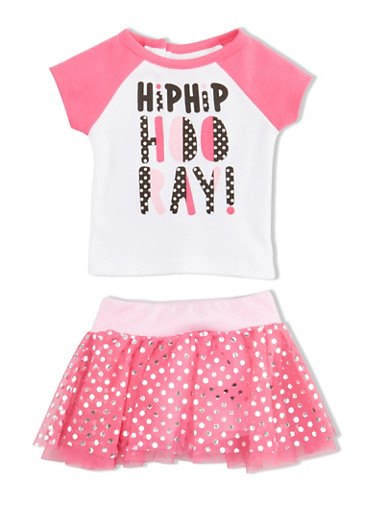 Baby Girl Graphic T Shirt and Foil Dot Tutu with Attached Shorts Set,FUCHSIA,large
