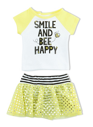 Baby Girl Graphic T Shirt and Foil Dot Tutu with Attached Striped Shorts Set,YELLOW,large