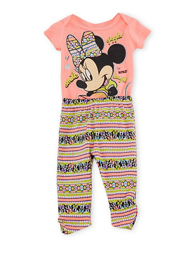 Baby Girl Minnie Mouse Bodysuit and Leggings Set,CORAL,large