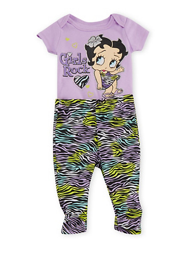 Baby Girl Bodysuit and Leggings Set with Betty Boop Graphic,LILAC,large