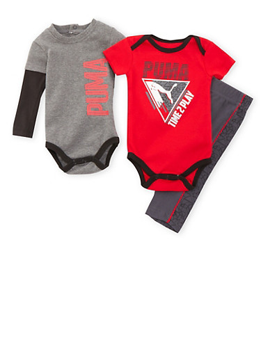 Baby Boy Puma Bodysuits and Pants Set,RED,large
