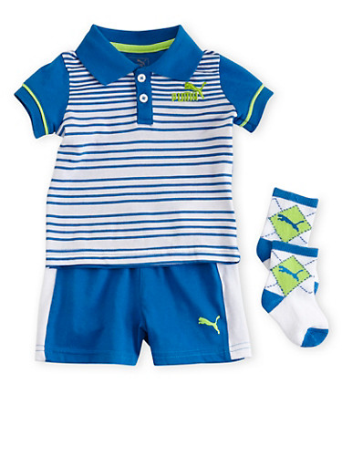 Baby Boy Puma Brand Striped Polo Tee Shorts and Socks Set,BLUE,large