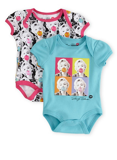 Baby Girl Set of 2 Graphic Bodysuits with New Chic Marilyn Bubblegum Print,TURQUOISE,large
